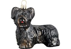 Skye Terrier Glass Christmas Ornament (Black) Skye Terrier, Joy To The World, Glass Christmas Ornaments, Jessie, Lion Sculpture, Fur, Statue, Holiday Decor, Kids
