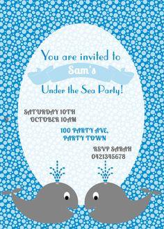 Child's Birthday Party Invitation Blue by Leeandmeinvitations
