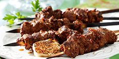 Inspired by the street vendors of Western China, this grilled spiced lamb kabob can be made with beef or chicken, too. Canola oil helps prevent the meat from sticking to the grill. Heart Healthy Recipes, Diabetic Recipes, Cooking Recipes, Healthy Heart, Lamb Skewers, Food Words, Recipe Details, Beef, Venison
