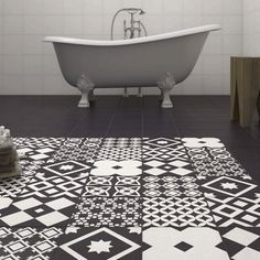 Vibe Black Patterned Wall and Floor Tiles - VIBE-PATT-BLK | 10 Small Bathroom Ideas On A Budget