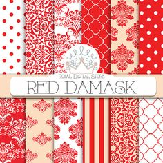 Red Damask Digital Paper: Red Damask Digital by royaldigitalstore
