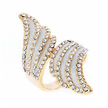 1Pcs New Brand Gold Plated Angel Wings Design Wedding Rings With Crystals & Rhinestones Rings For Women FREE SHIPPING J00873(China (Mainland))