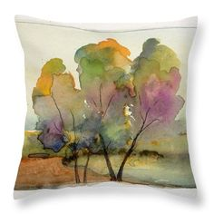 Landscape Throw Pillow featuring the painting Golden Autumn by Vesna Antic