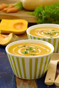 Butternut Soup with a swirl of yoghurt / cream / creme fraische - definitely a firm South African favourite in winter and oh-so-easy to make yourself! South African Dishes, South African Recipes, Kos, Eat For Energy, Soup Recipes, Cooking Recipes, Butternut Soup, Food Inspiration, Food And Drink