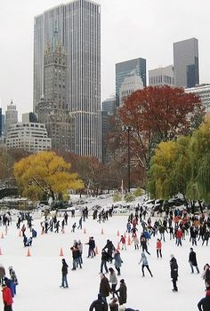 NY Central Park's world famous Wollman Rink offers ice-skating in winter