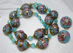 Vintage Murano Venetian Wedding Cake Art Glass Bead Necklace