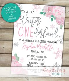 Winter Onederland Invitation, Pink and Silver Glitter, Winter Wonderland Birthday, Girl Onede… – wallpaper winter First Birthday Winter, Winter Wonderland Birthday, Girl First Birthday, Winter Onederland Invitations, Little Snowflake, Glitter Images, Blue And Silver, Birthday Invitations, First Birthdays