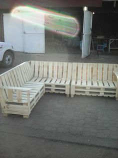 This piece is so nice that you could use this Pallet Sectional Sofa indoors or out! This took six pallets to make, and you'd only need to add the cushions
