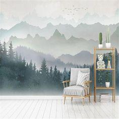 Modern Minimalist Watercolor Mountain Peak Wallpaper - 64W x 40H inches / Non-woven Paper