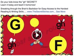"""Do YOUR kids know the 'grown-up' reading & writing SECRET about """"GH?"""" Learn it today and teach it tomorrow!....Follow for Free """"too-neat-not-to-keep"""" teaching tools & other fun stuff :)"""