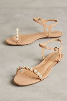 Wedding shoes flats summer pearl sandals for 2019 Pearl Sandals, Shoes Flats Sandals, Shoe Boots, Pearl Shoes, Nude Sandals, Cute Shoes, Me Too Shoes, Prom Shoes, Bridesmaid Shoes Flat