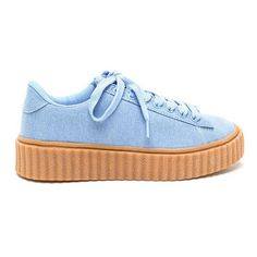 Drama Jean Denim Creeper Sneakers (96 RON) ❤ liked on Polyvore featuring shoes, sneakers, blue, platform shoes, lace up sneakers, blue sneakers, lacing sneakers and flatform sneakers