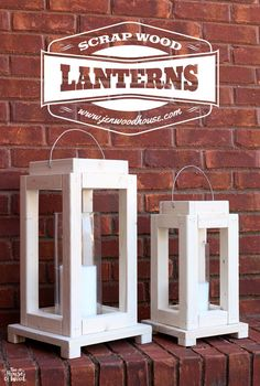 How to build a pair of DIY rustic lanterns out of scrap wood. Free plans and tutorial by Jen Woodhouse for the #scrapwoodchallenge.