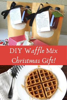The PERFECT, creative gift to make for teachers, coworkers, neighbors, or family and friends when you're on a budget! These waffles are so delicious with the real maple syrup! Save this idea for next Christmas! Real Maple Syrup, Waffle Mix, Free Printable Gift Tags, Multigrain, Diy Christmas Gifts, Holiday Decor, How To Make Breakfast, Teacher Favorite Things, Fermented Foods