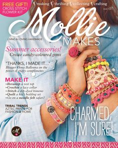 Issue 30 of Mollie Makes includes a dip dyed kimono, chevron pillows, crochet collar, octopus quilt and handmade bracelets Knitting Magazine, Crochet Magazine, Tribal Trends, Diy Trend, Mollie Makes, Magazine Crafts, Crochet Bracelet, Beaded Crochet, Free Crochet