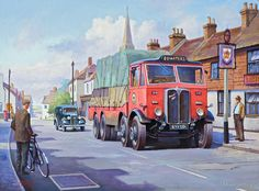 1935 AEC Mammoth Major Mk ll 'Bowaters' reg - GB Painting by Mike Jeffries Vintage Trucks, Old Trucks, Classic Trucks, Classic Cars, Truck Store, Transport Pictures, Illustrations Vintage, Old Lorries, Road Transport