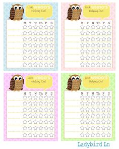 Ladybird Ln: Look 'WHOO'S' Helping Out, Summer Chore Chart Printable!
