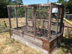 Protecting raised beds from critters. Panels are removable for access.