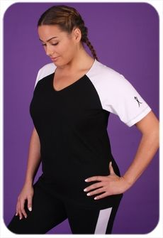 Women's Plus Size Workout Clothing - Baseball Style Shirt - Style #9558- Sizes 1X-4X