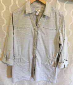 Chico's Size 2 (M-L) Light Gray Grey Safari Cinched Waist Snap Button Tunic #Chicos #Tunic