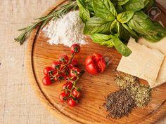 Ingredients Of Italian Cuisine. Cherry Tomatoes, Basil, Rosemary ...