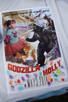 Godzilla Party Fingerprint Keepsake, too bad this doesn't open to a link..... Leo Birthday, Baby Boy Birthday, 14th Birthday, 6th Birthday Parties, Birthday Ideas, Godzilla Party, Godzilla Birthday Party, Party Time, Birthdays