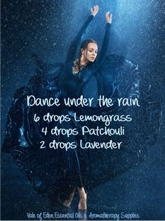 Get inspired with this diffuser blend reminiscent of falling rain. Make a splash or just enjoy the stress relief. With Spa aromatic and Organic Lemongrass essential oil, Passionate Patchouli & Tranquil Lavender EO. Make this blend more calming by swapping Eden Essential Oils, Helichrysum Essential Oil, Patchouli Essential Oil, Lemongrass Essential Oil, Essential Oil Perfume, Essential Oil Diffuser Blends, Lemongrass Oil, Diffuser Recipes, Aromatherapy Oils