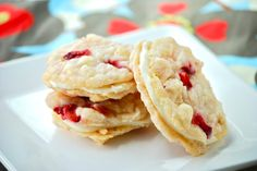 Strawberry Cheesecake Sandwich Cookies- (combined 2 cookie recipes to make these.)