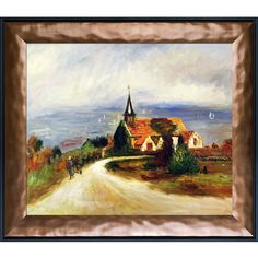 Village by the Sea, 1880-1889 by Renoir Framed Painting Print on Canvas
