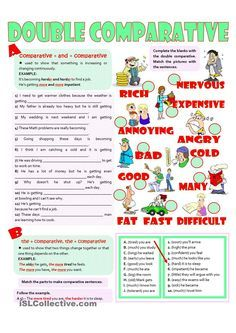 The focus is on comparatives: a) double comparatives for gradual increase - sentences completion and picture matching b) the + comparative, the + comparative. Adjectives Grammar, Grammar And Vocabulary, Grammar Worksheets, Adverbs, English Help, English Lessons, British And American English, Sentence Examples, English Exercises