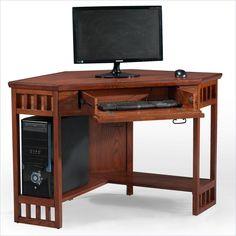 Corner Computer Writing Desk in Mission Oak - 82430