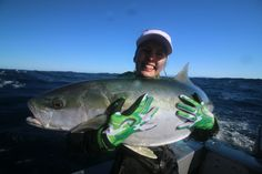 Ranfurly kingfish wearing Assassin sports fishing glove and decked out in Fisherchick Apparel