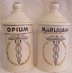 Vintage opium & marijuana apothecary jars.