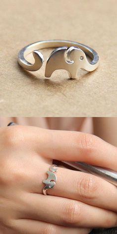 Cute Little Elephant 925 Sterling Silver Opening Ring for big sale! #cute #elephant #silver #Open #ring #jewelry