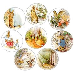 """It's a tradition in my house to read """"The Tales of Peter Rabbit,"""" the week of Easter. I still love the classic drawings. So at the Hayle. Peter Rabbit Cake, Peter Rabbit Birthday, Peter Rabbit Party, Graphic 45, Cupcake Vintage, Beatrix Potter Illustrations, Alfabeto Animal, Cupcake Toppers Free, Beatrice Potter"""