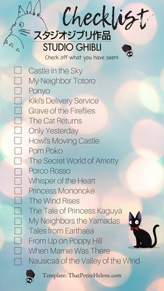 ✅Castle in the Sky ✅My Neighbour Totoro ✅Kiki's Delivery Service ✅Howl's Moving Castle Art Studio Ghibli, Studio Ghibli Wallpaper, Studio Ghibli Films, Studio Ghibli Characters, Studio Ghibli Quotes, Studio Ghibli Movie List, Studio Ghibli Background, Studio Ghibli Tattoo, Secret World Of Arrietty