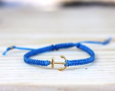 Arm Candy Friendship Bracelet. 18k Gold Anchor & Silk Band