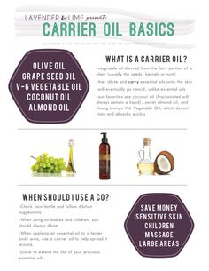 Using carrier oils with essential oils, from the team at Lavender and Lime -- Lindsey Moreno, Young Living #1559272