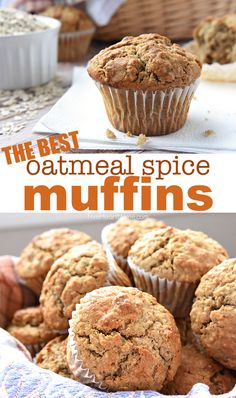 Wholesome OATMEAL SPICE MUFFINS are perfectly spiced with crunchy tops and pillowy centers making them a delicious breakfast on-the-go or anytime snack! - Muffins - Ideas of Muffins Healthy Breakfast Muffins, Healthy Muffin Recipes, Oat Muffins, Breakfast On The Go, Gourmet Recipes, Baking Recipes, Breakfast Recipes, Applesauce Oatmeal Muffins, Healthy Oatmeal Muffins