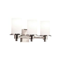 The Kichler 5438PN Contemporary 3 Light Bath Strip comes in Polished Nickel finish, is from the Cylinders collection and measures 8H x 20.5W inches. This item is CULD listed. Weighing 9.7 pounds, this item usually ships in 3 - 4 days and ships via UPS. 5438PN is made in China.
