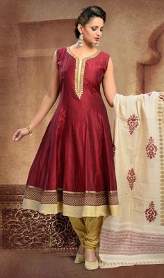 Dress up in royal splendor with this maroon color shade chanderi silk Anarkali churidar kameez. The gorgeous lace, patch and resham work a intensive element of this attire. #BeautifulColorsOfAnarkaliSuit
