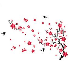 Topshop Swallow Birds and Large Plum Blossom Flower Tree Wall Stickers Art Decal Decor *** You can get additional details at the image link.