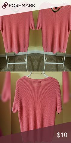 Longline sweater. Cute casual short sleeve longline sweater. Color is peach. Size 1x. Worn,  no signs of wear or tear good condition. Forever 21 Sweaters Crew & Scoop Necks