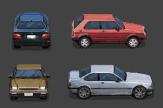 """""""working on some pixel cars. not the most exciting task, but there is no way around :P Game Design, How To Pixel Art, 3d Pixel, Anime Pixel Art, Pixel Art Games, 3d Fantasy, Low Poly Models, Monster Art, People Art"""