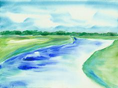 Marsh Abstract Watercolor By Frank Bright