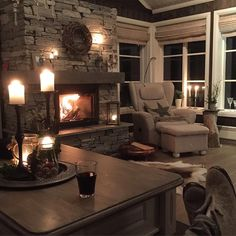 Relaxing at the fireplace Home Living Room, Interior Design Living Room, Living Spaces, Hygge Home, Dere, Log Homes, My Dream Home, Sweet Home, House Design