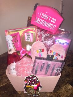 Minus the wine, this is cute for Molly Juicy Couture Perfume SetPillowCandyChampagne your choiceSlippersBody washMani pedi kitLoofahVictoria Secret PantiesCandle decorative wine glassBath bombsMini travel bagCo. Cute Birthday Gift, Birthday Gift Baskets, Friend Birthday Gifts, Diy Birthday, Best Friend Birthday Basket, 21st Birthday Gifts For Girls, 21st Birthday Basket, Valentines Day Baskets, Grandpa Birthday