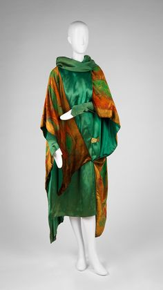 Dress with Attached Wrap, silk with painted velvet, Paul Poiret designer, French, 1925