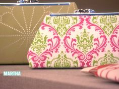 Robin Grawunder sews a fashionable fabric clutch with personalized labels.