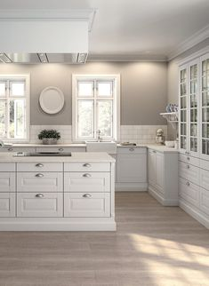 Kitchen ideas white cabinets grey walls doors 70 ideas for 2019 Country Kitchen, New Kitchen, Kitchen Decor, Kitchen Grey, Kitchen With Grey Walls, Order Kitchen, Decorating Kitchen, White Kitchen Cabinets, Kitchen Backsplash